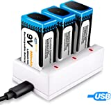 9V 800mAh Rechargeable Batteries, Keenstone 3-Pack 9V PP3 Li-ion Batteries Charger-Low Self-Discharge-High Energy Density-500 Charging Cycles (USB Charging Cable Included)