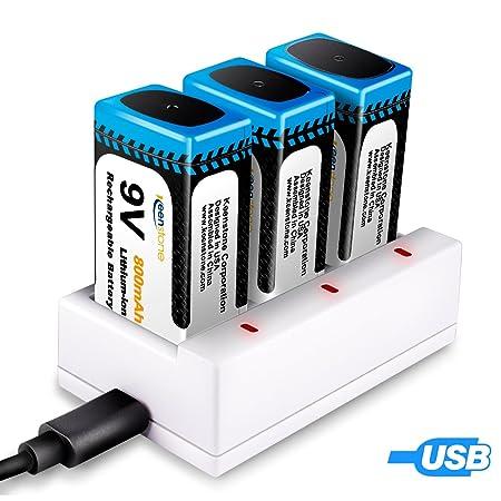 9V Batterie, Keenstone 3 St. 9V PP3 Li-Ion Block aufladbare Akku Batterien, mit 3 Slots Ladegerät, 800mAh, mit USB-Ladekabel