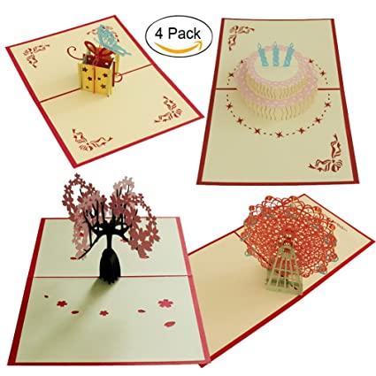 Amazon 4 Pcs Pop Up Card 3d Paper Craft Greeting Cards Cherry