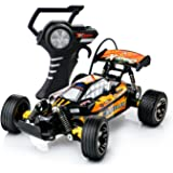 PTL Fast RC Remote Control Toy Car Buggy Truggy - 15kph Radio Controlled High Speed Motor with Racing Tyres for On Off Road Play Indoors or Outdoors 27Mhz (Colour Varies)
