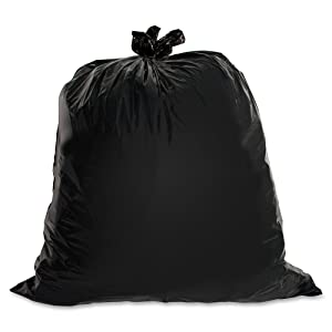 Genuine Joe GJO01532 Heavy Duty Low-Density Puncture Resistant Trash Bag, 30 Gallon Capacity, 1.50 mil Thickness, Black (Box of 100)