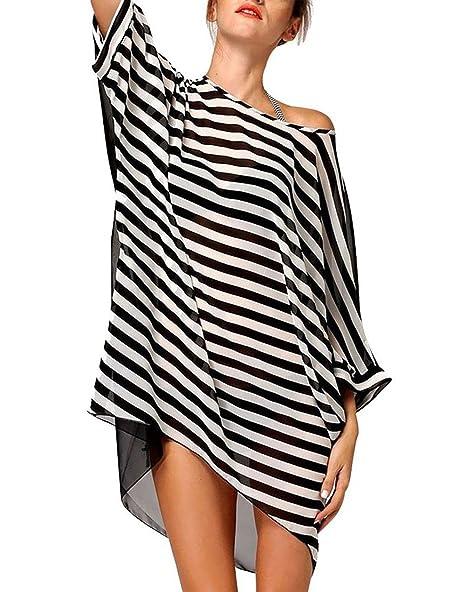 e4ed24d0d2 Eleter Women's Oversized Chiffon Stripe Beach Bikini Swimwear Cover Up  (Black and White)