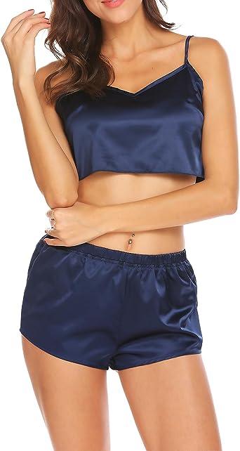 Enjoybra Mujer Conjunto De Pijama 2 Piezas De Encaje Camiseta Y Pantalones Ropa De Dormir De Satén