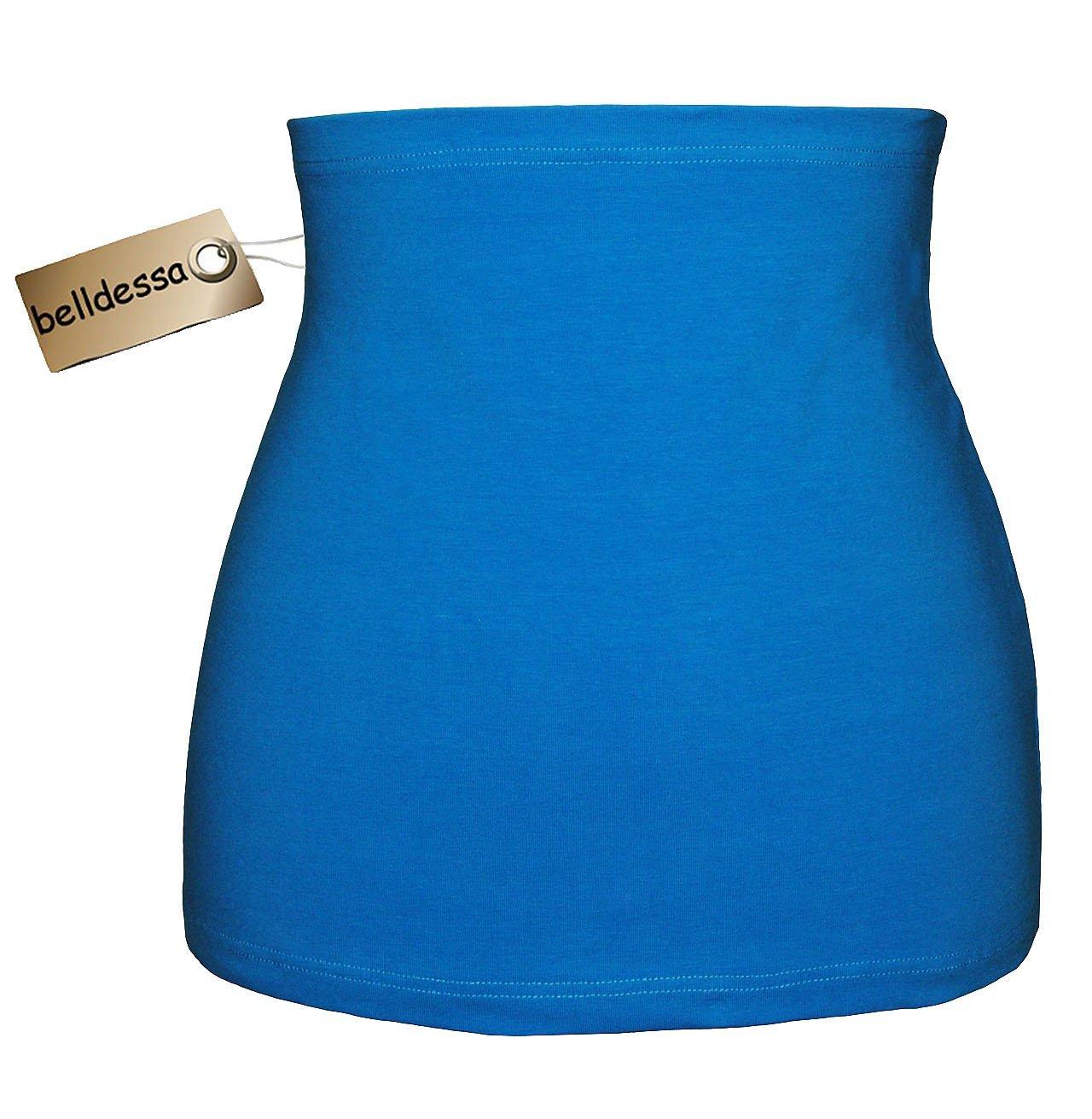 Jersey Baumwolle - azur / türkis blau - Nierenwärmer / Rückenwärmer / Bauchwärmer / Shirt Verlängerer - Größe: Damen Frauen XS - ideal auch für Blasenentzündung und Hexenschuss / Rückenschmerzen / Menstruationsbeschwerden belldessa
