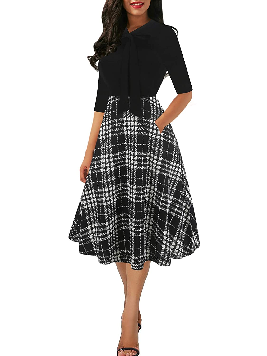 efb2be6044d8b oxiuly Women's Vintage V-Neck Sleveless Casual A-Line Work Party Swing Dress  OX278: Amazon.ca: Clothing & Accessories