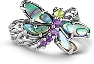 product image for Carolyn Pollack Sterling Silver Abalone, Purple Amethyst and Green Peridot Gemstone Dragonfly Ring Size 05 to 10
