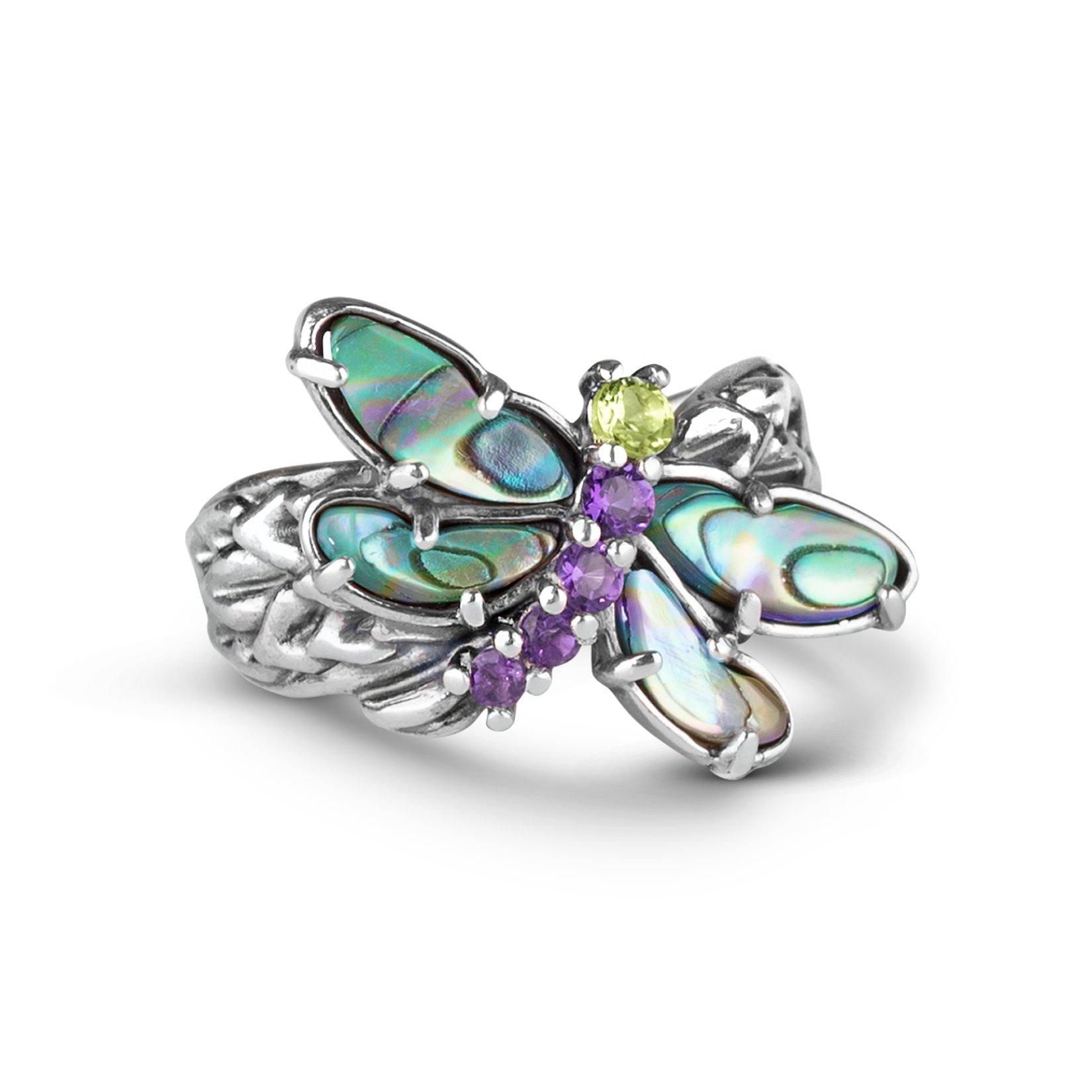 Carolyn Pollack Sterling Silver Multi Gemstone Dragonfly Ring
