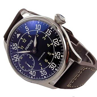 44 mm parnis 6497, mecánica hombres del reloj Negro Dial: Amazon.es: Relojes