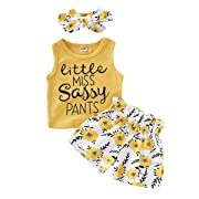 NZRVAWAS 3PCS Set Toddler Kids Baby Girl Clothes Little Miss Vest Tops Floral Shorts Bowknot Headband Summer Outfits Yellow