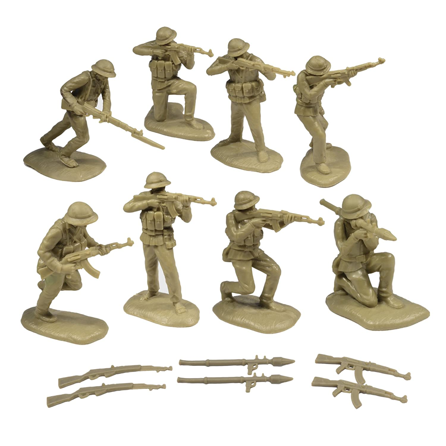 TSSD Vietnam NORTH VIETNAMESE ARMY 16 Khaki 1:32 Plastic Army Men Figures