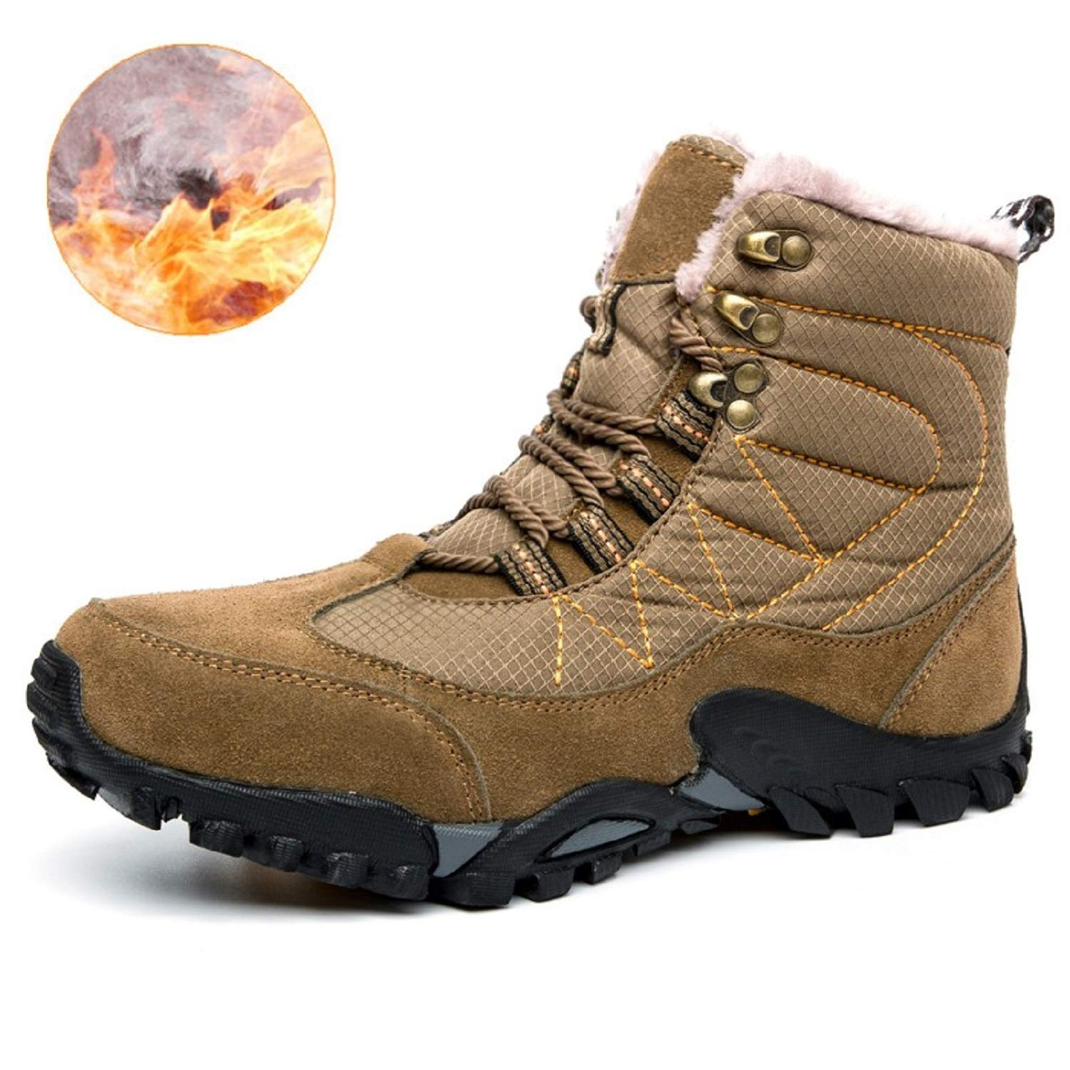 TQGOLD Outdoor Men Winter Casual Snow Boots with Fur Lined Slip-on Waterproof Warm Ankle Hiking Boots Men Sneakers