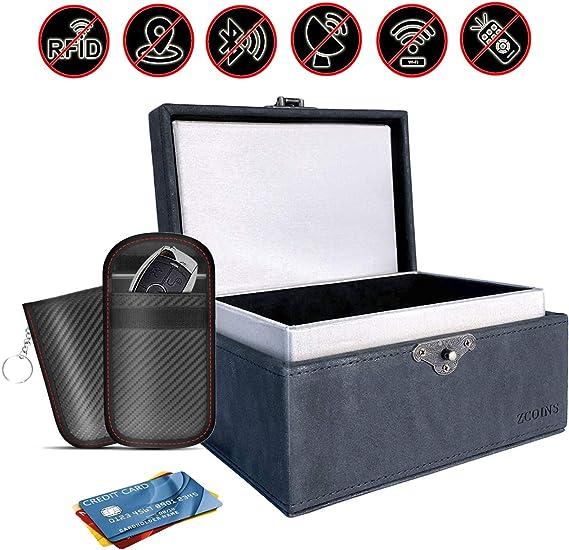 ZCOINS Caja de bloqueo de señal RFID ZCOINS y paquete económico de 2 bolsas Faraday de doble capa, juego de bloqueo RFID de entrada sin llave con caja Faraday: Amazon.es: Coche y