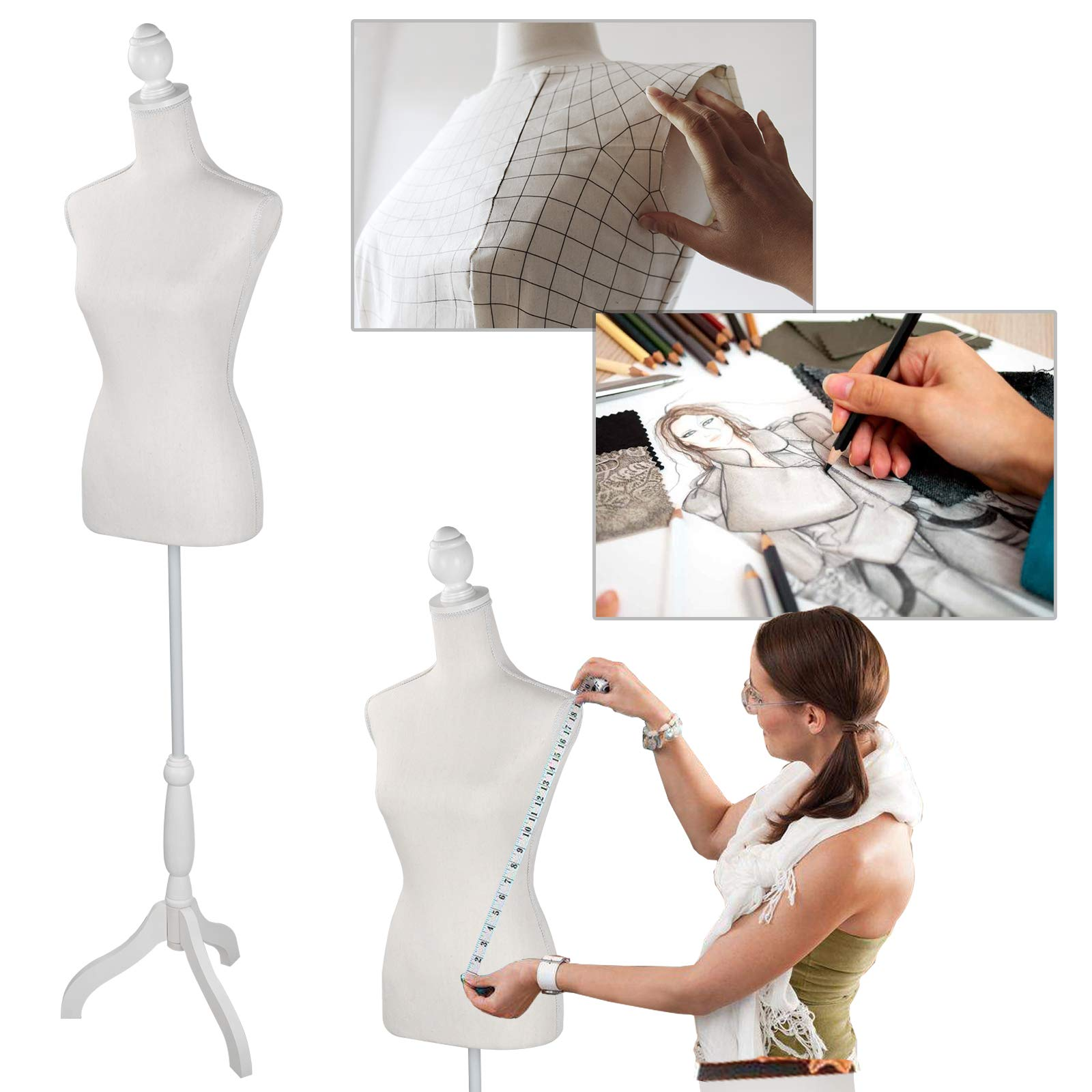Female Mannequin Torso Body Dress Form Clothing Display W/Tripod Wooden Base for Clothing Dress Jewelry Display Photography