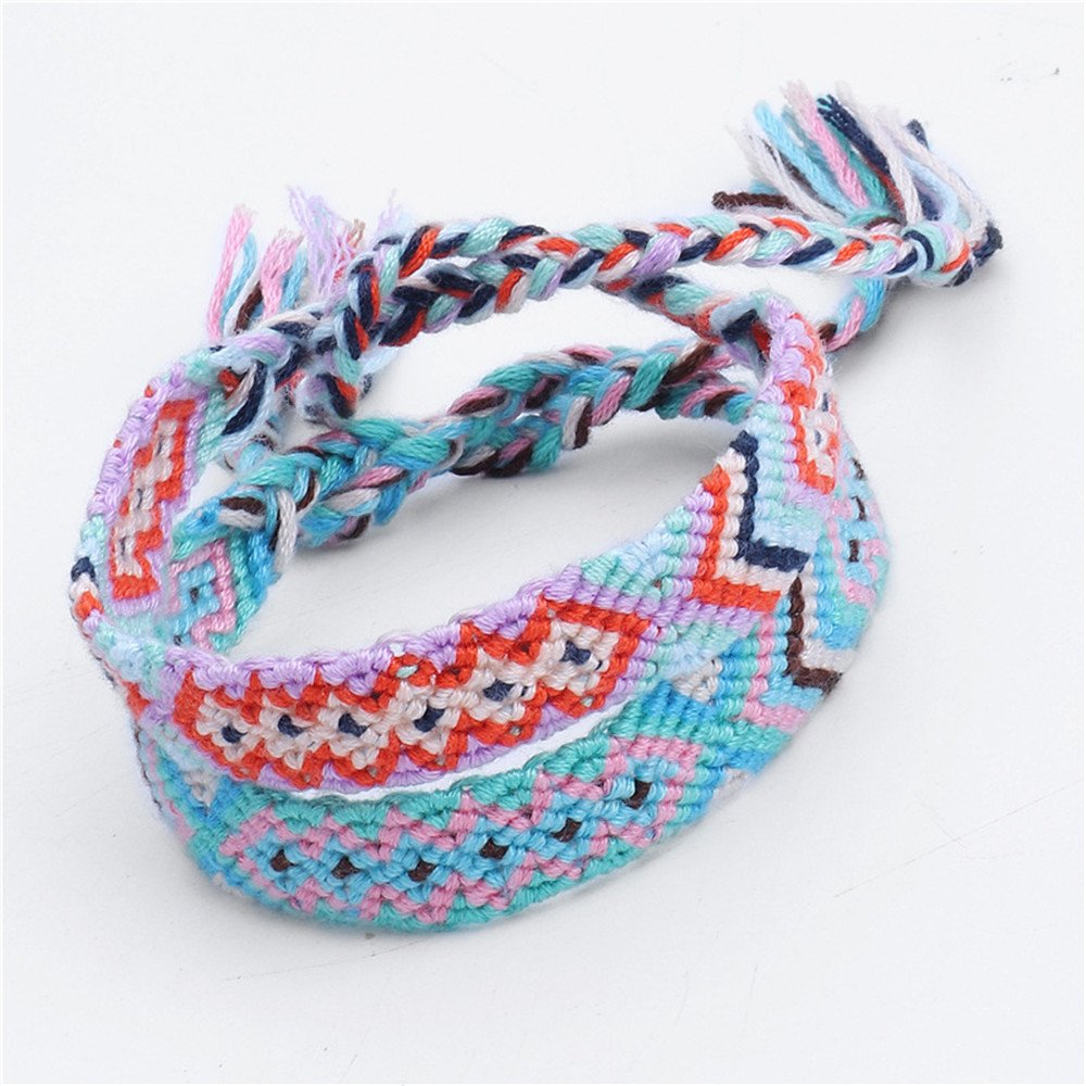 Handmade Braided Bracelet Nepal Ethnic Woven Cotton Rope Friendship Bracelets