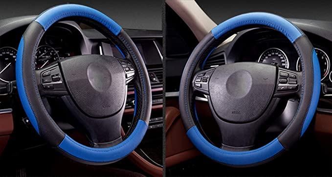Amazon.com: Coofig Leather Hand Sewing Fashion, Breathable, Skidproof Car Steering Wheel Cover Universal 15inch (Blue, Hand Sewing): Automotive