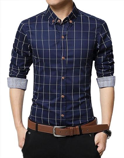 Kuson Homme Chemise à Carreaux Manche Longue Coton Slim Fit Casual Mince Bleu Foncé XL