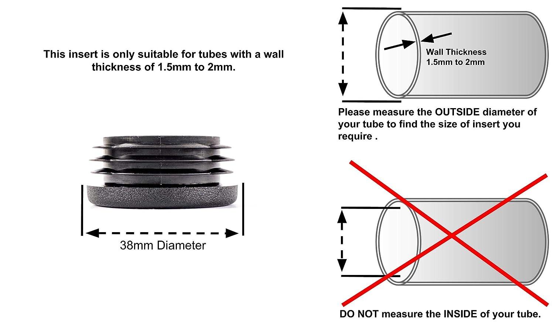 paquete de 4 Tapones de inserci/ón redondos de pl/ástico negro y acanalados