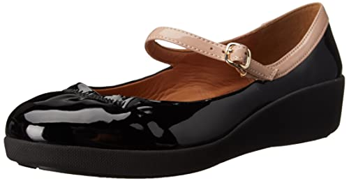 Fitflop Women's F-Pop Patent Mary Jane, Black (All Black), 3