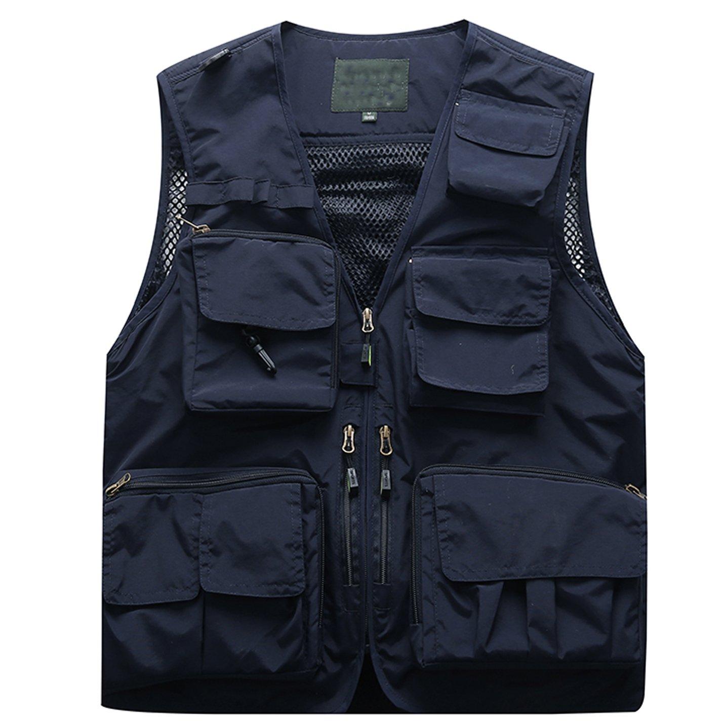 Flygo Men's Casual Lightweight Outdoor Travel Fishing Vest Jacket Multi Pockets (XXX-Large, Navy Blue) by Flygo
