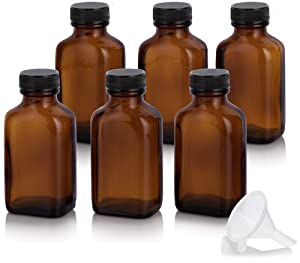 3 oz / 90 ml Amber Glass Rectangle Apothecary Bottle with Airtight Cap (6 PACK) + Funnel