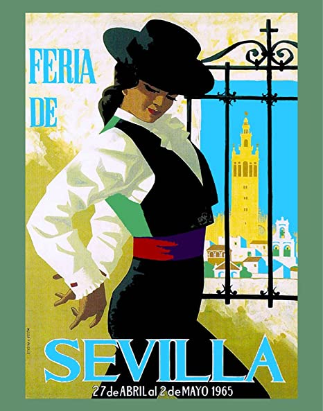 "11""x14""Travel Poster.Feria de Sevilla.1965 Flamenco dancer."
