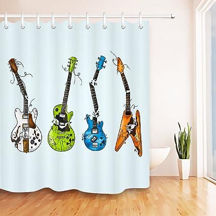 Amazon Com Lb Broken Guitars Wild Rock Roll Decor Shower Curtain