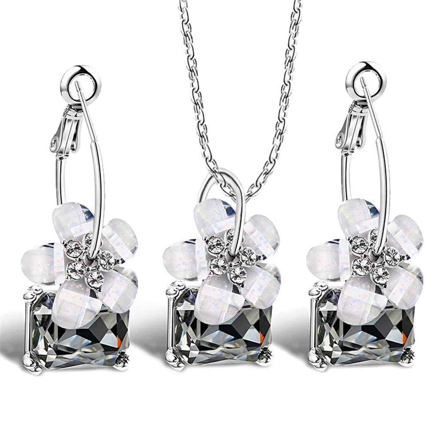 Romantic Fine Bride Sets Blue Crystal Colorful White Flower Necklace Big Ear Ring Earrings Jewelry Set For Women Wedding Bijoux,T214L