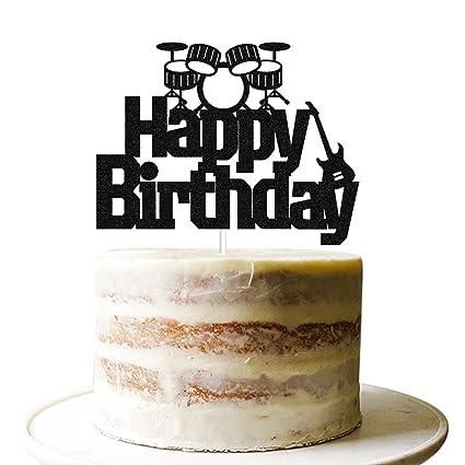 Swell Marwey Happy Birthday Cake Topperblack Glitter Birthday Party Personalised Birthday Cards Paralily Jamesorg
