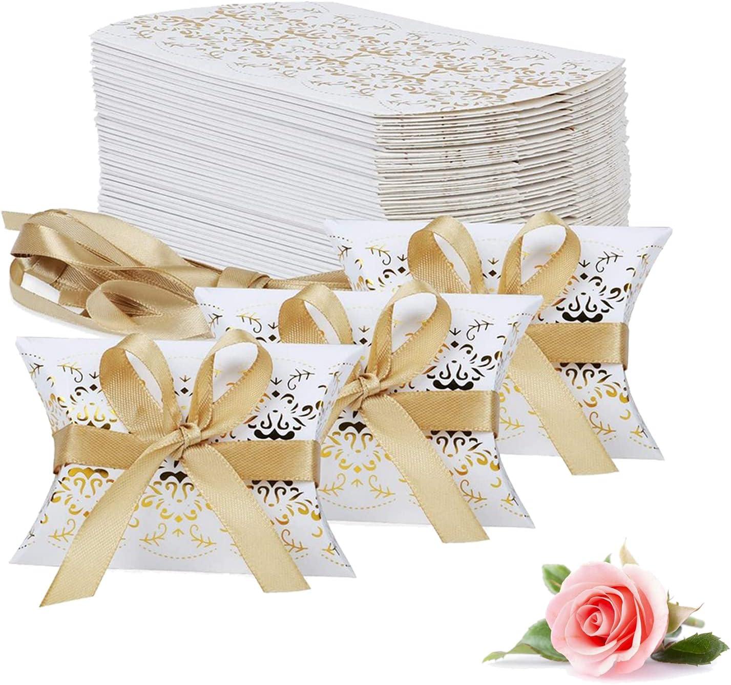 Caja De Papel Dorada Cajas De Papel Para Caramelos Caja De Papel De Chocolate Favores De La Boda De La Caja De Dulces Caja De Almohada Caja De Regalo Kit Con Cintas Doradas (50 Piezas)