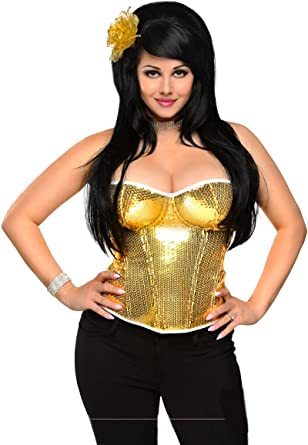 5ee824e41a Amazon.com  Daisy corsets Gold Sequin Underwire Zipper Corset Top  Clothing