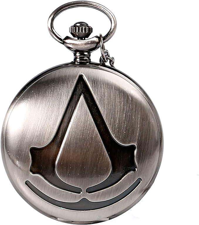 Steampunk Reloj de bolsillo de cuarzo analógico de la película de Assassin para hombre, collar y reloj de bolsillo de regalo 2 Color (Gris): Amazon.es: Relojes
