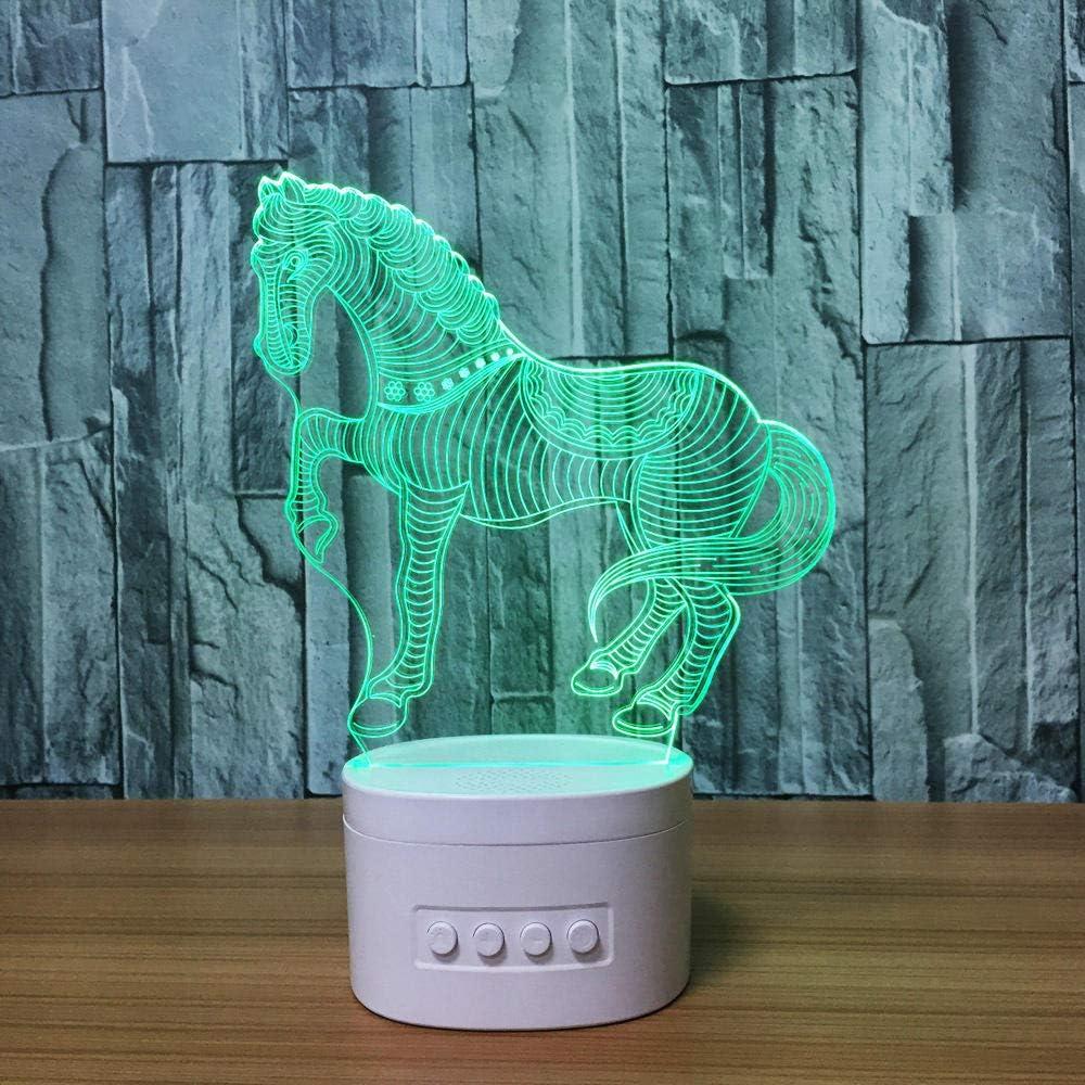OMCR Ilusión luz nocturna 16 colores - Reloj - bocina Bluetooth - Caballo animal, Creativo 3D Luz Nocturna ilusión Optica Lámpara 7 Colores Cambiantes Touch Switch USB Power Juguetes Decoración Navida