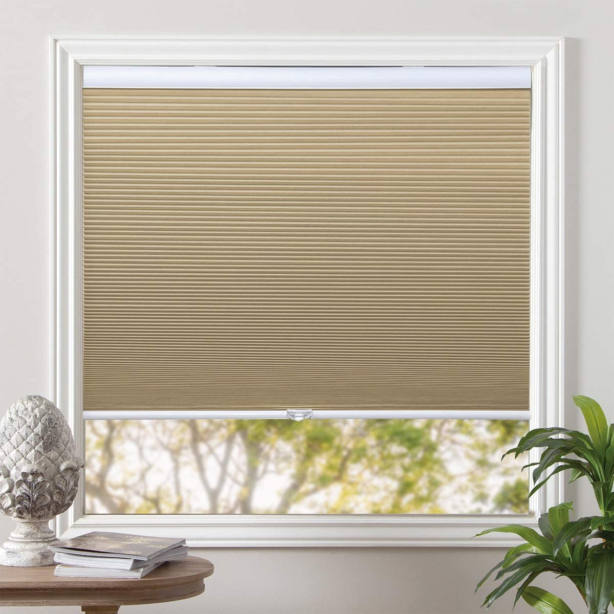 Grandekor Window Blinds Cordless Cellular Shades Blackout Fabric Blinds Honeycomb Shades Pale Beige-White, 35x64 inch