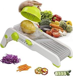 KLEVERISE Mandoline Slicer Vegetable Slicer Cutting Grater Adjustable Multi-Blade Slicer Fruit Onion Potato Cutter Stainless Steel