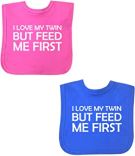 Spoilt rotten kids twins personalised baby bibs two in pack babyprem baby feeding pack of 2 bibs girls boys twins feed me first velcro negle Choice Image