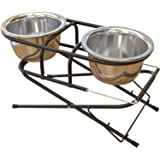 FluffyPal Elevated Raised Dog Bowls Feeder For Small Medium Large Dogs - Two Level Adjustable Dog Bowls Stand To 9.5'' and 14.75'' Hight - Two Stainless Steel 42oz (5 Cups) Dog Bowls