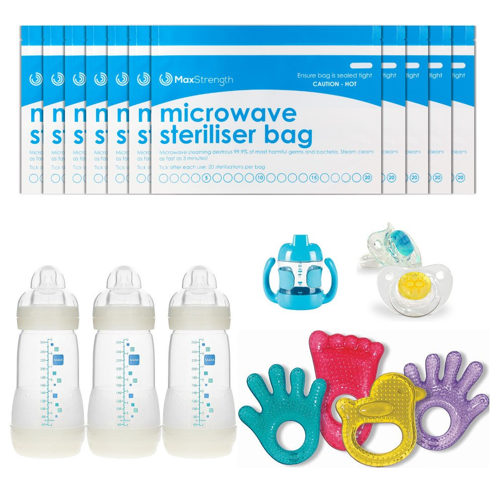 Teethers /& Training Cups 20 Uses Per Bag /& Marking System Soothers by Max Strength Premium Microwave Sterilizer Bags 10pcs Large /& Durable Steam Bags for Baby Bottles