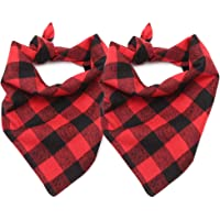 ASOCEA Dog Plaid Bandana Pet Triangle Bibs Christmas Winter Scarf Cotton Kerchief…