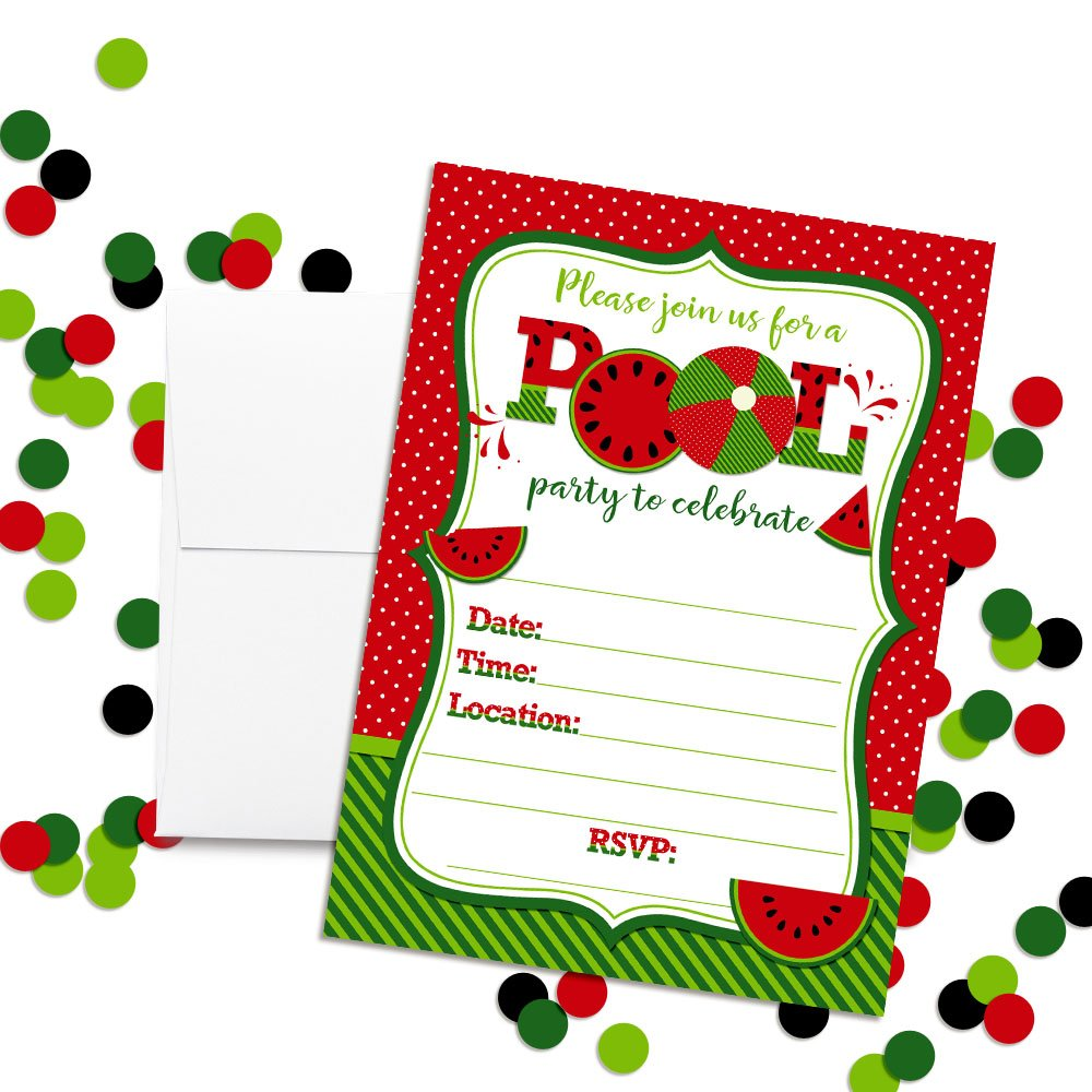 20 5x7 Fill in Cards with Twenty White Envelopes by AmandaCreation Watermelon Birthday Pool Party Invitations in Red