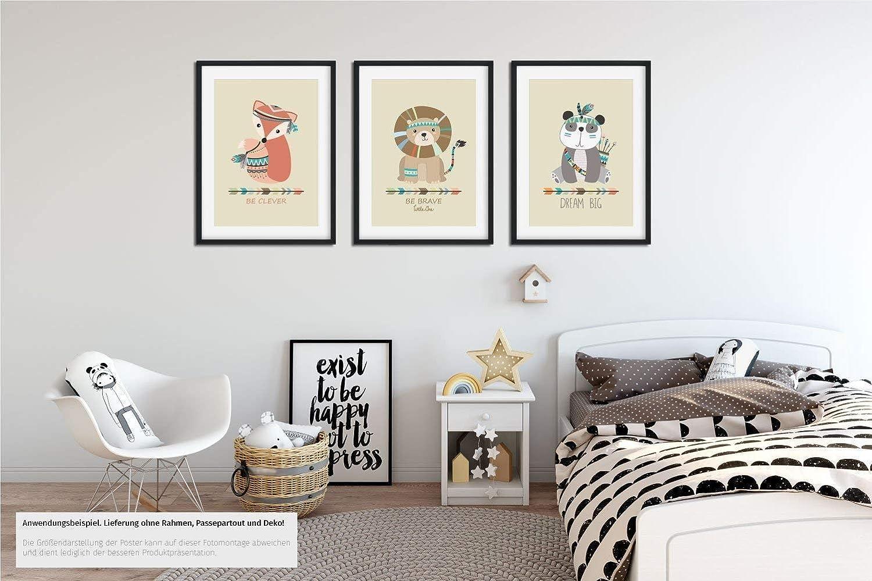 b337e9b64d 3er Set Kinderzimmer Babyzimmer Poster Indianer Tiere Din A4