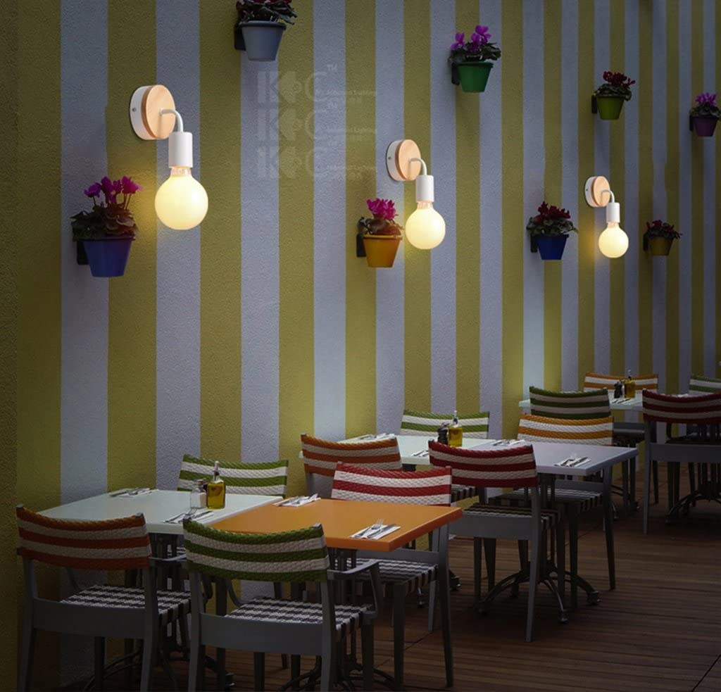 AILI JIAHONG Apliques De Pared Moderno Creativo De Hierro De Madera Pared L/ámpara De Cabecera Dormitorio Dormitorio Restaurante Corredor L/ámpara De Pared E27 Led Bulbo Color : White