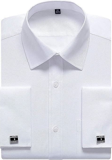 Siliteelon - Camisa de vestir para hombre con doble puño (gemelos incluidos): Amazon.es: Ropa y accesorios