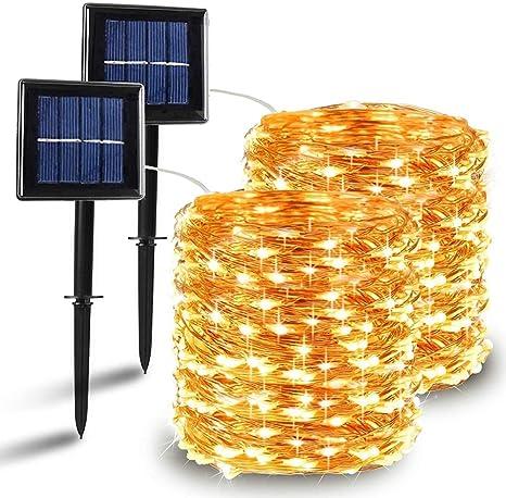 2 Pack] Guirnaldas Luces Exterior Solar, Nurkoo Luces Led Solares ...
