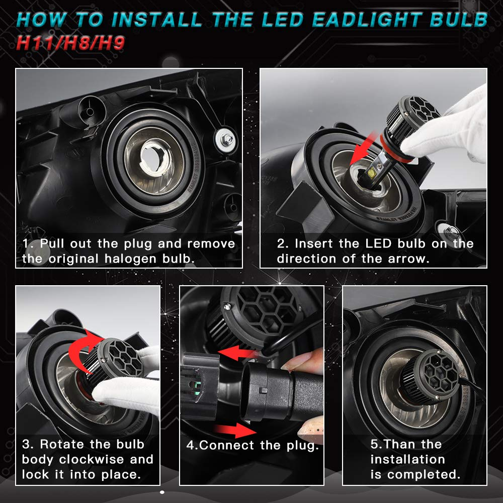 Pack of 2 30W 6000K Cool White 7200Lumens High Bright H8 H9 CREE Chips All-in-One Conversion Kit-3 Year Warranty ASAKA H11 LED Headlight Bulb