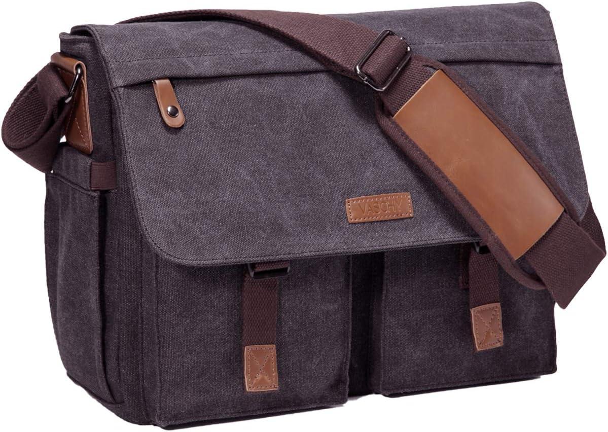 Messenger Bag for Men,Vaschy Water Resistant Canvas 14inch Laptop Shoulder Commuter Bag for Men and Women Dark Gray