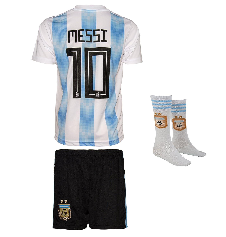 SVB Argentina Mundial 18 y Copa America 16 # 10 Messi - Niños Pantalones y Camiseta con Corta Calcetines: Amazon.es: Deportes y aire libre