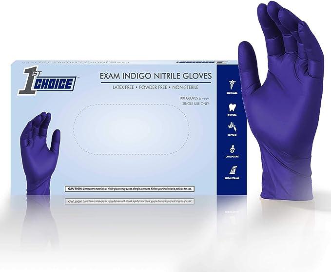 Latex Free Blue 5mil Nitrile Gloves Exam Grade Size Medium Non-Vinyl