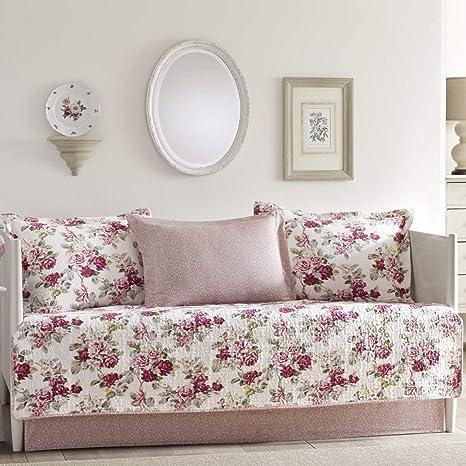 Juego de 5 fundas para cama de día con diseño de flores ...