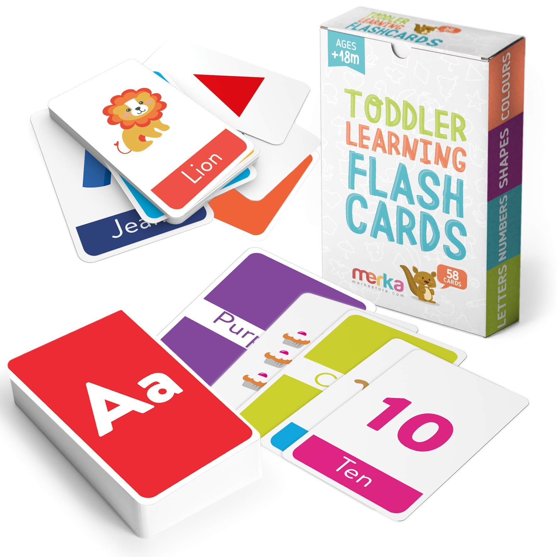 merka Kids' Educational Flash Cards: Letters, Numbers, Shapes and Colors – A Fun Way to Learn Letter Sounds and First Words – Recommended for Toddlers and Preschoolers – Set of 58 Cards