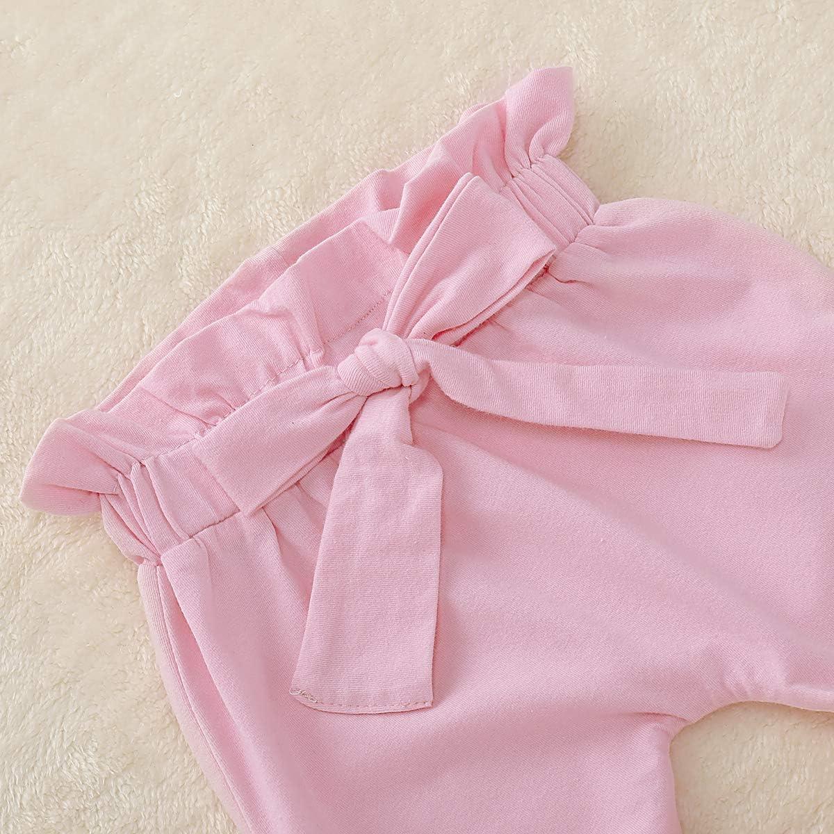 Set Filles de b/éb/é Nouveau-n/é /à Volants v/êtements Chemise Pantalon Bandeau pour Tout-Petit Haokaini 3pcs